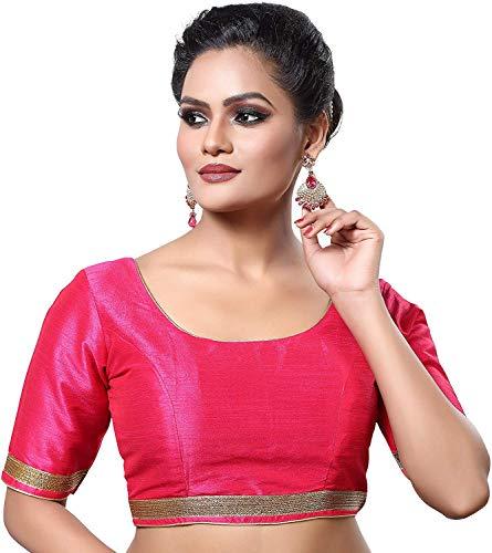 Hiral Designer Mall Top Sarees Blouse Readymade Indian Silk & All Sari Color Matching Silk Blouse (3XL-44, Pink)