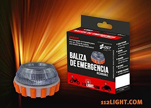 Luz de Emergencia v16 Homologada DGT con Batería Recargable y Cable USB incluído. Magnética. Señaliza el Vehículo con Seguridad Caso de Avería.