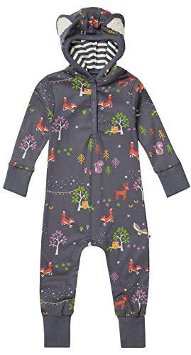 Piccalilly Kids Combinaison tout-en-un à capuche en jersey doux en coton biologique Unisexe Motif animaux de la forêt Gris - Gris - 18 mois
