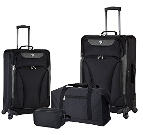 """Travelers Club 4 Piece Travel Value Set Includes 25"""" Spinner Suitcase, 20"""" Carry-On Luggage, 21"""" Weekender Duffel, and 14"""" Travel Kit, Black Color Option"""
