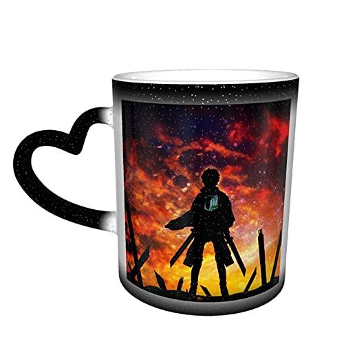 Anime Attack On Titán cerámica sensible al calor color cambiante tazas cielo estrellado novedad viaje taza dibujos animados café taza tés ataque a Titan 1