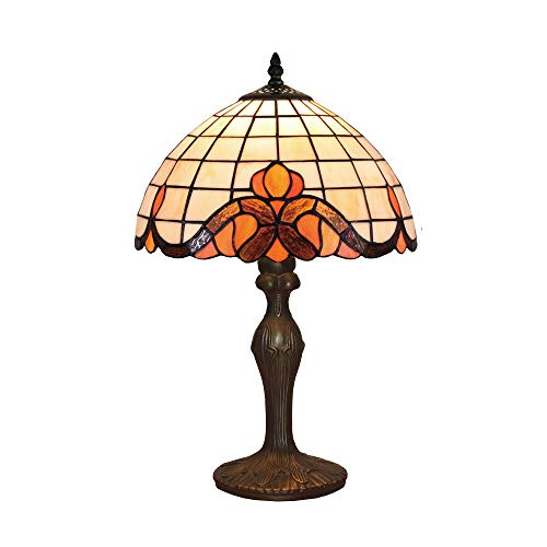 Tokira Tiffany Lámpara de Mesa Estilo Barroco, Minimalista Lámparas Blancas para Sala de Estar, Acogedoras Luces de Mesa Tiffany con Vitrales para Salón/Dormitorio, Viene con Bombilla LED