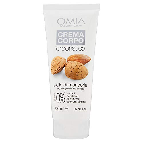 Omia, Crema Corpo Erboristica Con Olio di Mandorla, Pelle Delicata e Sensibile - 200 ml