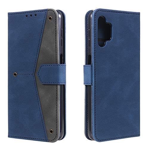 Galaxy A32 Hülle für Samsung A32 5G Wallet Hülle, PU Leder Schutzhülle Skin, Stoßfest Stand TPU Flip Hülle, Spleißen Handy Charms (Blau, A32 (5G))