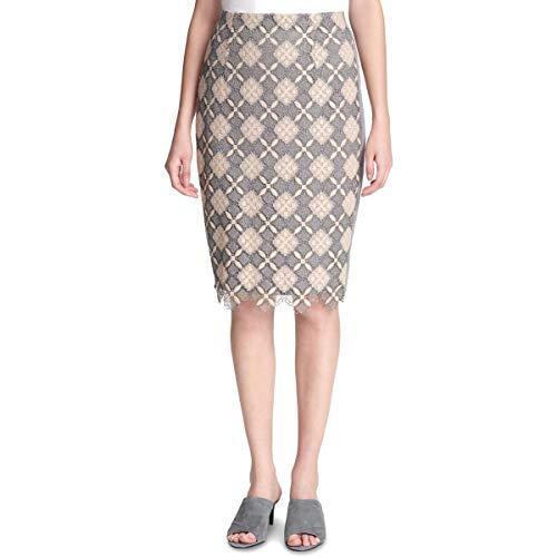 Calvin Klein Womens Lace Overlay Split Hem Pencil Skirt Gray 16