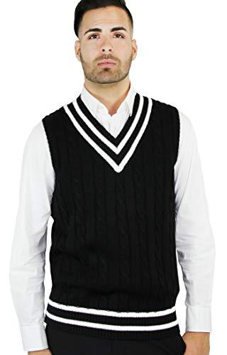 Blue Ocean Cricket Cable Sweater Vest-Medium Black