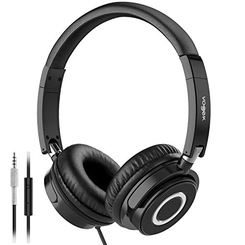 Vogek On Ear Headphones with Mic, Lightweight Portable Fold-Flat Stereo Bass Headphones with 1.5M Tangle Free Cord and Microphone-Black
