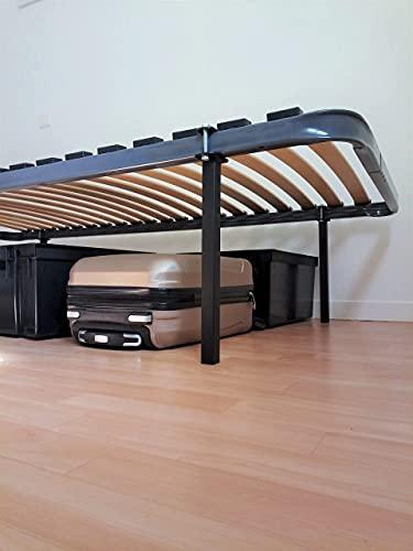 4 Pieds de lit sans perçage   Hauteur : 35cm   pour sommiers à Lattes   Noir (PSP350NC25)