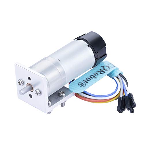 CQRobot Ocean: 74.83:1 HP Metal DC Geared-Down Motor 25Dx68.5L mm 5.5W/6V with 48 CPR Encoder and Fix Bracket. 130 RPM/11 kg.cm (150 oz.in), D-shaped Output Shaft 4 mm/12.5 mm (Diameter/Length).