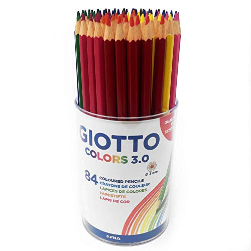 Giotto Colors 3.0 Colouring Pencils in Plastic Pot – Class Pack of 84 Assorted Colours
