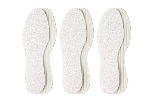 Berckland 3er-Pack Barfußsohle aus 100% Baumwolle mit Latexdämpfung –Made in Germany- Komfortsohle-Frotteesohle- Sommereinlage- Waschbar und Luftdurchlässig Gr. 43