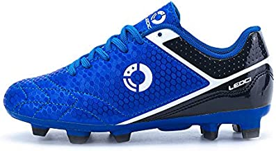 LEOCI Soccer Shoe - Kids' and Toddler and Boy Outdoor Coomfortable Soccer Cleat (Blue, Numeric_3)