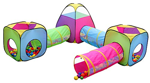 Hide N Side Kids 6pc Play Tent and Tunnel Toy Jungle, Indoor & Outdoor Child Pop up Tent with Tunnels Playhouse