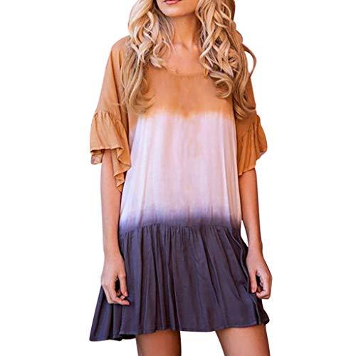 Damen Kleider Abendkleid Cocktailkleid,2019 neues Kleid Farbverlauf Kleid Rundhals Frauen gedruckt Trompete Ärmel beiläufige lose Plus Size Kleid S-5XL