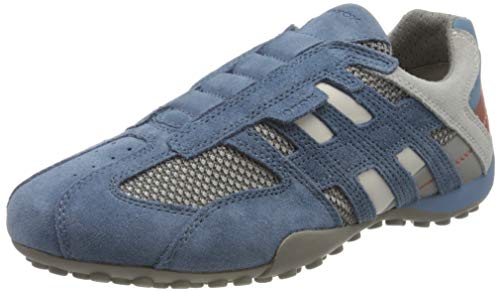 Geox Herren Uomo Snake F Sneaker, Blau (Avio/Lt Grey C4453), 41 EU