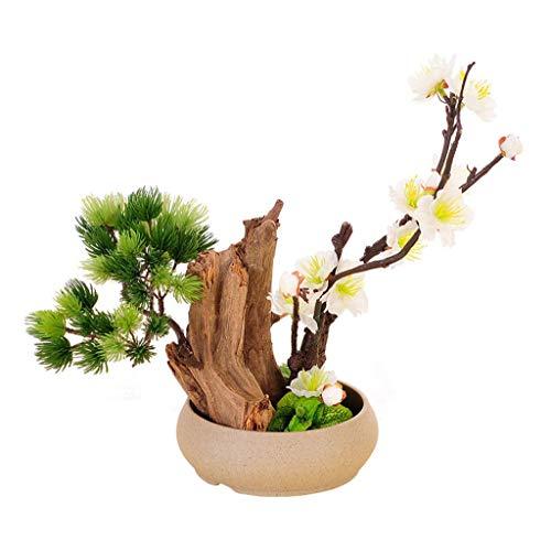 Planta artificial Artificial Bonsái - Decoración planta falsa, artificial en maceta Plantas, bonsais del pino japonés de la planta, for la decoración, visualización en escritorio Simulación de ciruelo