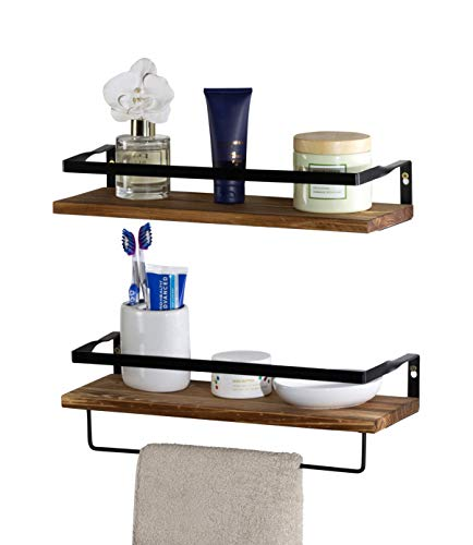 Floating Shelves Wall Mounted Storage Shelves for Kitchen, Bathroom, Bedroom,Living Room,Office. Set of 2 Natural Wood Shelf with Removable Towel Holder, Strong Black Metal Rail Frame…