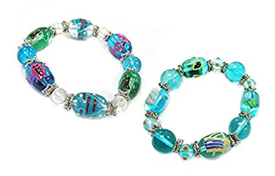 Linpeng Fiona 3D Hand Painted Nautical Turquoise Glass Beads Stretch Bracelets Set in Bag, 2-Pack_IUP-06-2/25-4