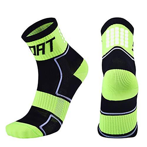 Vobery Calcetines para Hombre,Calcetines Deportivos para Hombres,Mujeres,Calcetines Tobilleros para Correr,Calcetines Deportivos,Calcetines Deportivos de Compresión de Rendimiento(Verde,L)