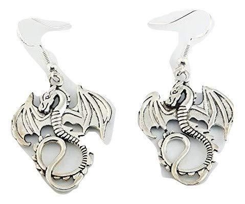 Pendientes inspirados en el juego de tronos de dragón tibetano de plata de ley con ganchos en una preciosa bolsa de regalo de organza Wiccan Wicca Pagan
