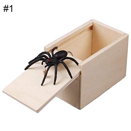 Tricky Toy Shivering Scared Whole Person Spoof Little Insect Box Spider Box Gruselige Horror Kleine Holzbox, weiß