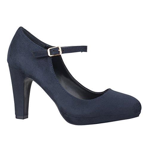 Elara Zapato de Tacón Alto Correa High Heels Vintage Chunkyrayan BL692-PM Dk.Blue-37
