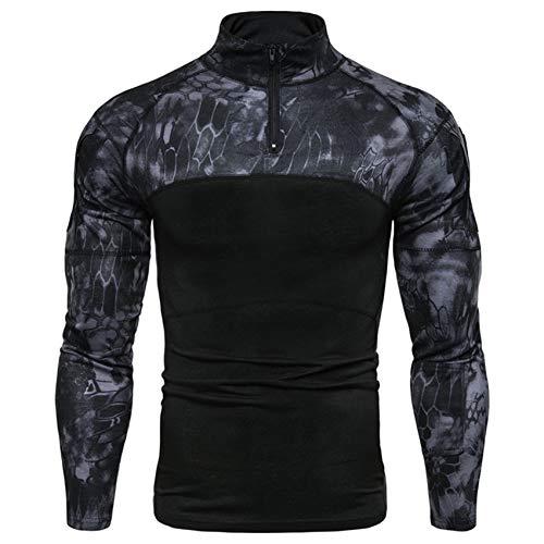 Herren Outdoor Fitness Bottoming Shirt Herren Camouflage Langarm T-Shirt Mit ReißVerschluss Und Tasche