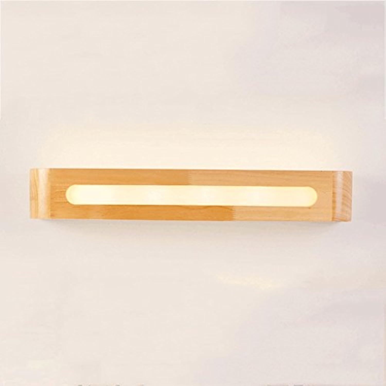 PIAOLING Japanischen Stil LED-Massivholz Wandleuchte, moderne einfache Spiegel Vorderleuchten, Gang Treppe Badezimmer Schlafzimmer Nachttisch Beleuchtung, weies Licht (Gre   S)