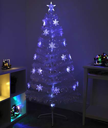 Christmas Concepts 60 Inch (1.5M) Transparent LED Fibre Optic Christmas Tree With Blue/White LED Colour Changing Snowflakes