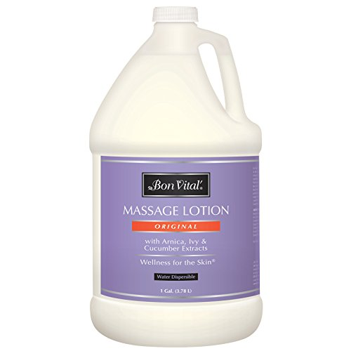 Bon Vital' - BVORIGL1G Original Massage Lotion for a Versatile Massage Foundation to Relax Sore Muscles & Repair Dry Skin, Lightweight, Non-Greasy Formula to Moisturize and Repair Dry Skin, 1 Gallon Bottle