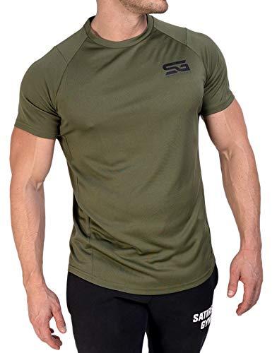 Satire Gym - Herren Fitness Sportbekleidung - atmungsaktives Funktionsshirt Herren Sport T-Shirt Männer - Muscle Fit für Training (L, olivgrün)