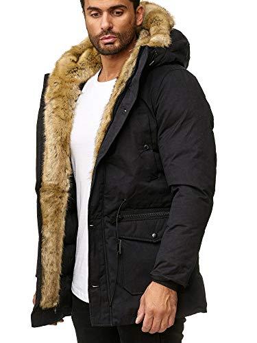Husaria Designer Jacke Winterjacke mit Kapuze und stylischem Fell Winter Parka R131 (XL, Schwarz)