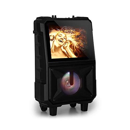 auna CenterStage - mobile Karaoke-Lautsprecher Anlage, Karaoke-System, Bluetooth, USB, MicroSD-Slot, 14.1\'\' Farbdisplay, Funk-Mikrofon, rechargeable Lithium-Akku, 40 Watt RMS, schwarz