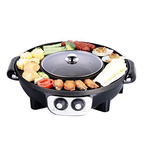 JOSN Elektrischer koreanischer BBQ-Grill, Hot Pot Tischgrill und Rauchloser Fondue-Kocher Antihaftbeschichtet Elektrischer Hot Pot,Schwarz