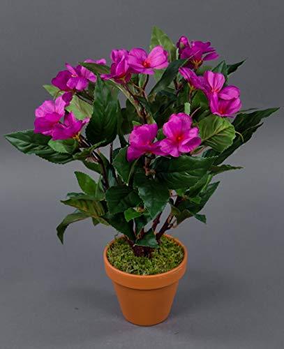 Seidenblumen Roß Impatiens/Fleißiges Lieschen 38cm Fuchsia im Topf LM Kunstpflanzen Kunstblumen künstliche Blumen Pflanzen