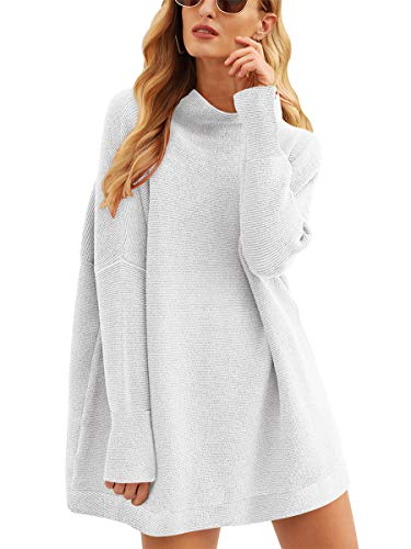 Prinbara Women's Casual Solid Long Sleeve Crew Neck Oversized Pullover Knit Sweaters Tops Dress Gray 2PA77-yinhui-S