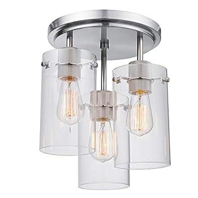 Globe Electric 60338 Cusco 3-Light Semi-Flush Mount Ceiling Light, Brushed Steel, Clear Glass Shades