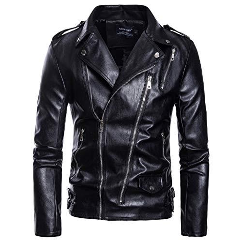 SANNYSIS Lederjacke Herren Jacke Retro Motorrad 80´s Oldschool Übergangsjacke Biker Jacket Punk Mantel Outwear Männer Funktionsjacke Freizeitjacke Trenchcoats (4XL, Schwarz)