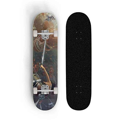 Dmxiezib Anime Skateboard for den Angriff Titan, Skateboard Longboards, Skateboards Professional Standard for Anfänger 31 Inches, Maple Concave Deck Cruiser, Tretroller, Bester Geburtstag/Weihnachts
