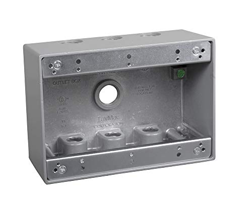 TayMac TB750S 3-Gang Weatherproof Box with Seven 1/2 in. Outlets, Gray