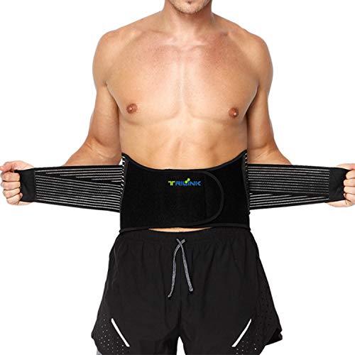 Faja Lumbar para Hombre y Mujer, Lumbar para la Espalda para Aliviar el Dolor de la Parte Baja de la Espalda - Cinturon Lumbar con Resortes de Refuerzo y Correas Dobles de Ajuste (L - 96 a 121cm) ⭐