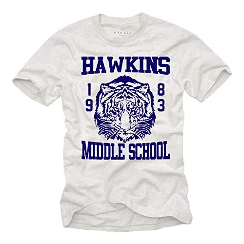 Camiseta Vintage Hombre - Hawkins Middle School Stranger Things 1983 Cosas Extrañas Blanco L
