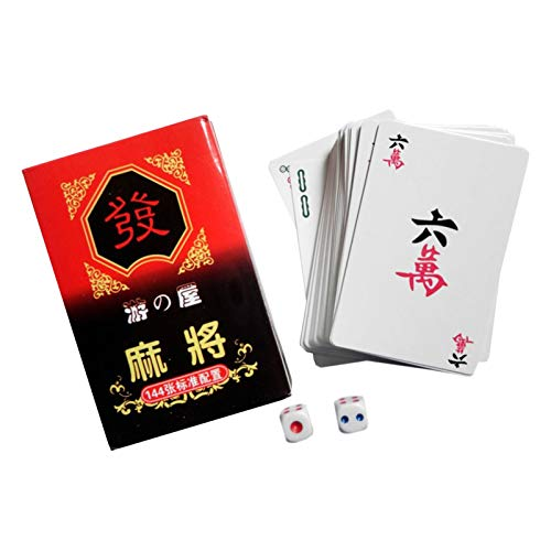ZXYWW Mahjong Card Game, 144 Pcs Chinese Mahjong Playing Cards Set, Portable Travel Waterproof Mahjong Card Best for Majhong Lover
