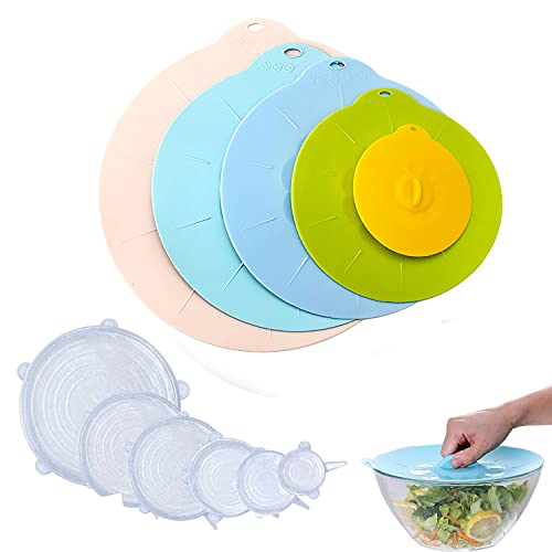 GProME Set of 11 Microwave Cover for Reusable Bowl Lids-Silicone Container Covers, Stretch Lids for Food-Suction Seal Covers for Pots,Pans,Cups. BPA Free-StoveTop, Oven, Fridge and Freezer Safe.