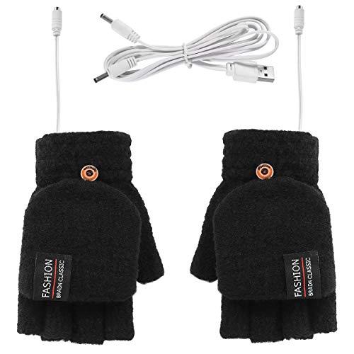 Rehomy Guantes calentados por USB para mujeres y hombres, guantes de invierno cálidos con dedos completos y medio para portátil para interiores o exteriores (Negro)