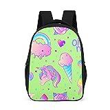 Mochila escolar para niños pequeños, arco iris, unicornio, verde, mochila para niños, mochila multifuncional, mochila de senderismo, con correas anchas y cómodas