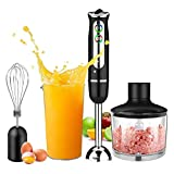 Hand Blender Electric,4-in-1 Stick Blender,8-Speed,with 860ml Food Processor Chopper,600ml Beaker,Electric Whisk