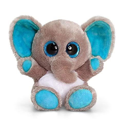Keel Toys- KEELTOYS-Peluche Animotsu Elephant 15cm-SF0452, SF0452, Gris, Bleu