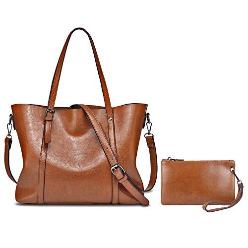 YALUXE Damen Handtasche Set aus Echtleder mit Umhängetasche mit Brieftasche Braun