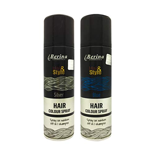 Berina Hair Color Spray Blue + Silver, Pack of 2